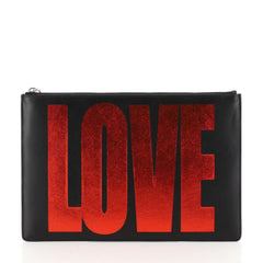 Givenchy Love Pouch Printed Leather Medium Black 444941