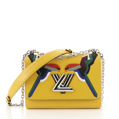 Louis Vuitton Twist Handbag Bird Motif Epi Leather MM Yellow 4450114