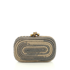 Bottega Veneta Knot Clutch Braided Leather Small Gray 4450124