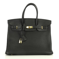 Hermes Birkin Handbag Black Togo with Gold Hardware 35 Black 4450140