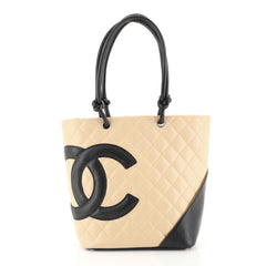 Chanel Cambon Tote Quilted Leather Medium Black 4450144