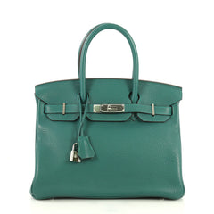 Hermes Birkin Handbag Green Clemence with Palladium Hardware 30 Green 4450166