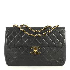 Chanel Vintage Classic Single Flap Bag Quilted Lambskin Maxi Black 445...