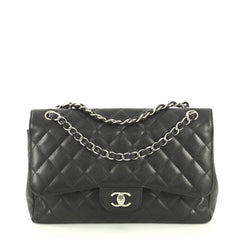 Chanel Classic Double Flap Bag Quilted Caviar Jumbo Black 445305