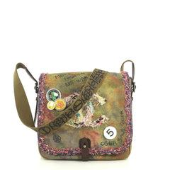 Chanel On The Pavements Graffiti Messenger Bag Canvas Small Green 4453...