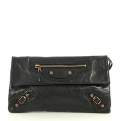 Balenciaga Envelope Clutch Giant Studs Leather Black 445341