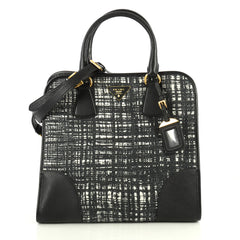 Prada Convertible Shopping Tote Tweed with Saffiano Leather Large Black 445445