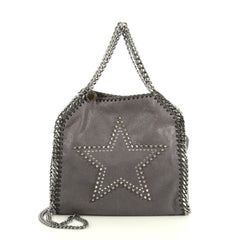 Stella McCartney Falabella Fold Over Crossbody Bag Studded Shaggy Deer Mini Gray 445446
