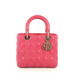 Christian Dior Lady Dior Handbag Cannage Quilt Lambskin Medium Pink 4454701