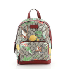 Gucci Zip Pocket Backpack Blooms Print GG Coated Canvas Small