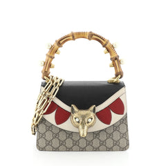 Gucci Broche Bamboo Top Handle Bag GG Coated Canvas and Leather Mini