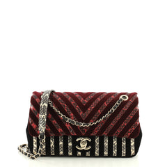 Chanel CC Flap Bag Chevron Velvet and Python Medium Black 445714