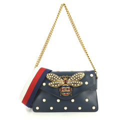 Gucci Broadway Pearly Bee Shoulder Bag Embellished Leather Mini Blue 445715