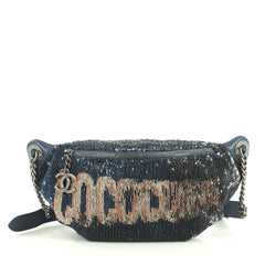 Chanel Coco Cuba Waist Bag Sequins and Quilted Lambskin Blue 4457702
