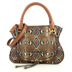 Chloe Marcie Satchel Python Print Calfskin Medium Brown 4457901