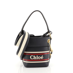 Chloe Roy Logo Bucket Bag Printed Leather Mini Blue 445881
