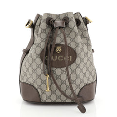 Gucci Animalier Drawstring Bucket Backpack GG Coated Canvas Mini Brown 446137