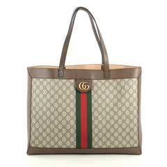 Gucci Ophidia Soft Open Tote GG Coated Canvas East West Brown 4462201
