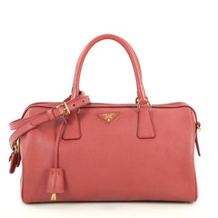 Prada Lux Convertible Boston Bag Saffiano Leather Medium Pink 446241
