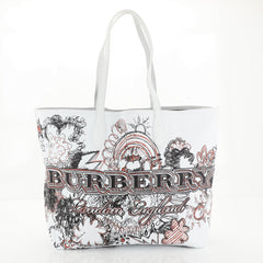 Burberry Doodle Reversible Tote Printed Canvas Large White 446563