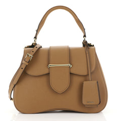 Prada Sidonie Top Handle Bag Saffiano Leather Large Brown 446596