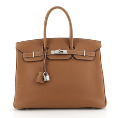Hermes Birkin Handbag Brown Fjord with Palladium Hardware 35 Brown 446...