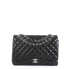 Chanel Classic Double Flap Bag Quilted Lambskin Maxi Black 446611