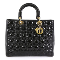 Christian Dior Lady Dior Handbag Cannage Quilt Patent Large Black 446613
