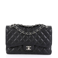 Chanel Classic Double Flap Bag Quilted Caviar Jumbo Black 446614