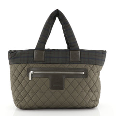 Chanel Coco Cocoon Zipped Tote Quilted Printed Nylon Medium Green 4466717