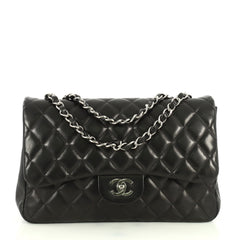 Chanel Classic Single Flap Bag Quilted Lambskin Jumbo Black 4466745