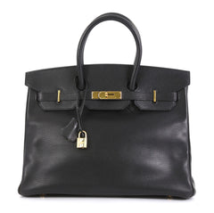 Hermes Birkin Handbag Black Ardennes with Gold Hardware 35 Black 4466746