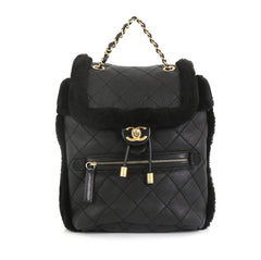 Chanel Paris-Hamburg Flap Backpack Quilted Lambskin and Shearling Black 4466755