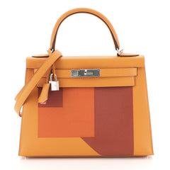 Hermes Kelly Lettre Handbag Orange Epsom with Palladium Hardware 28 orange 4466758