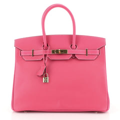 Hermes Birkin Handbag Pink Epsom with Gold Hardware 35 Pink 4466768