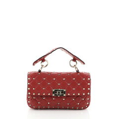 Valentino Rockstud Spike Flap Bag Quilted Leather Small
