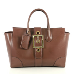 Gucci Lady Buckle Top Handle Bag Leather Large Brown 446684