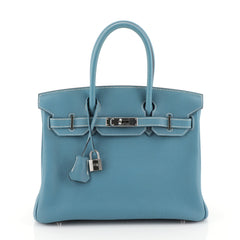Hermes Birkin Handbag Blue Togo with Palladium Hardware 30 Blue 446691