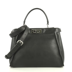 Fendi Monster Peekaboo Bag Calfskin and Python Regular Black 446711