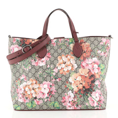 Gucci Convertible Soft Tote Blooms Print GG Coated Canvas Medium Brown 4467211