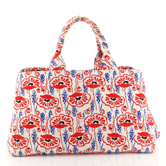 Prada Canapa Tote Printed Canvas Large White 4467219
