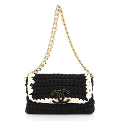 Chanel Fancy Crochet Flap Bag Fabric Small Black 4467221