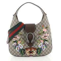 Gucci Dionysus Hobo Embroidered GG Coated Canvas Medium Brown 446729