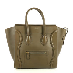 Celine Luggage Handbag Smooth Leather Mini Green 4469615