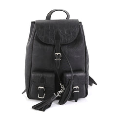 Saint Laurent Festival Backpack Crocodile Embossed Leather Small Black 446993
