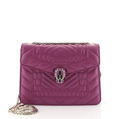 Bvlgari Serpenti Forever Square Shoulder Bag Quilted Leather Small Purple 447181
