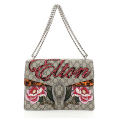 Gucci Dionysus Bag Embroidered GG Coated Canvas with Python Medium Brown 447221
