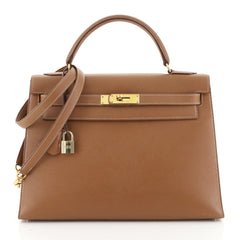 Hermes Kelly Handbag Brown Courchevel with Gold Hardware 32 Brown 4472...