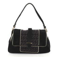 Fendi Baguette Suede and Zucchino Canvas Medium Black 447242