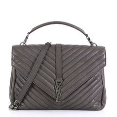 Saint Laurent Classic Monogram College Bag Matelasse Chevron Leather Large Gray 447311